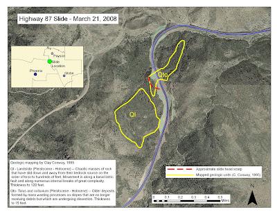 Map Of Highway 87 Arizona.Arizona Geology Map Of Beeline Hwy Sr87 Landslide
