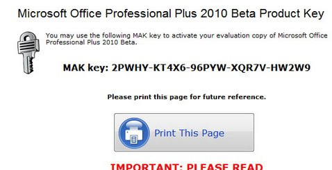 ms office pro plus 2010 key