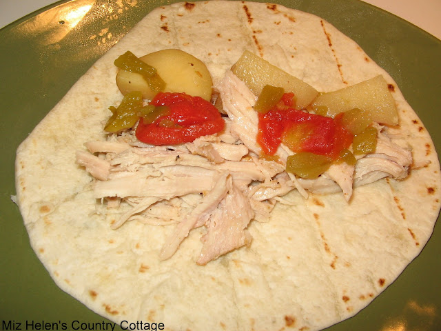 Whats For Dinnenr Next Week: Green Chili Pulled Pork Burrito's at Miz Helen's Country Cottage