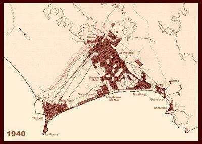 Mapa de Lima en los años 40s