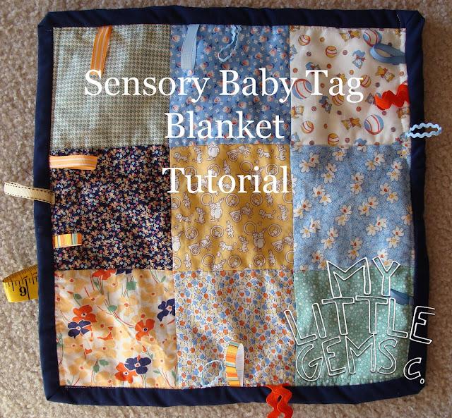 My Little Gems Sensory Baby Tag Blanket Tutorial