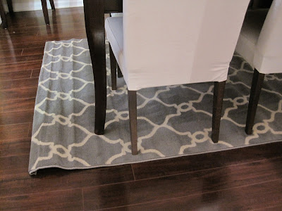 gray and white trellis dining room rug