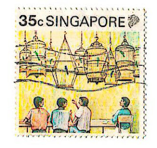 Singapore stamp, people with singing birds