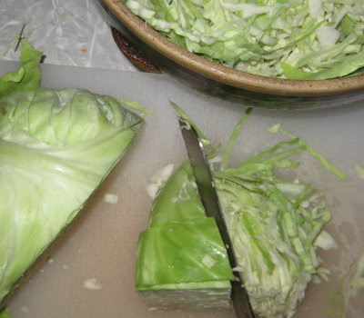 Step 1 - chopping the cabbage