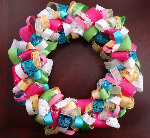 Colorful Looped Ribbon Wreath Made From Ribbon Scraps