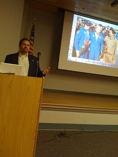Me, Lecturing at the library earlier this year.