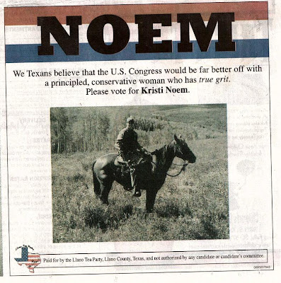 Texas Tea Party ad for Noem