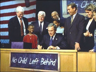 Pres. Bush signs NCLB in Hamilton, Ohio, Jan. 8, 2002; credit Paul Morse, White House