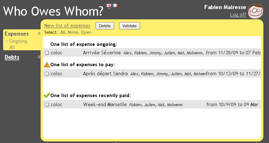 Paid state of a shared expense list
