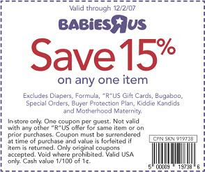 photograph regarding Baby R Us Coupons Printable called Coupon Heaven: Printable Coupon for Infants R Us (exp 12/2/07)