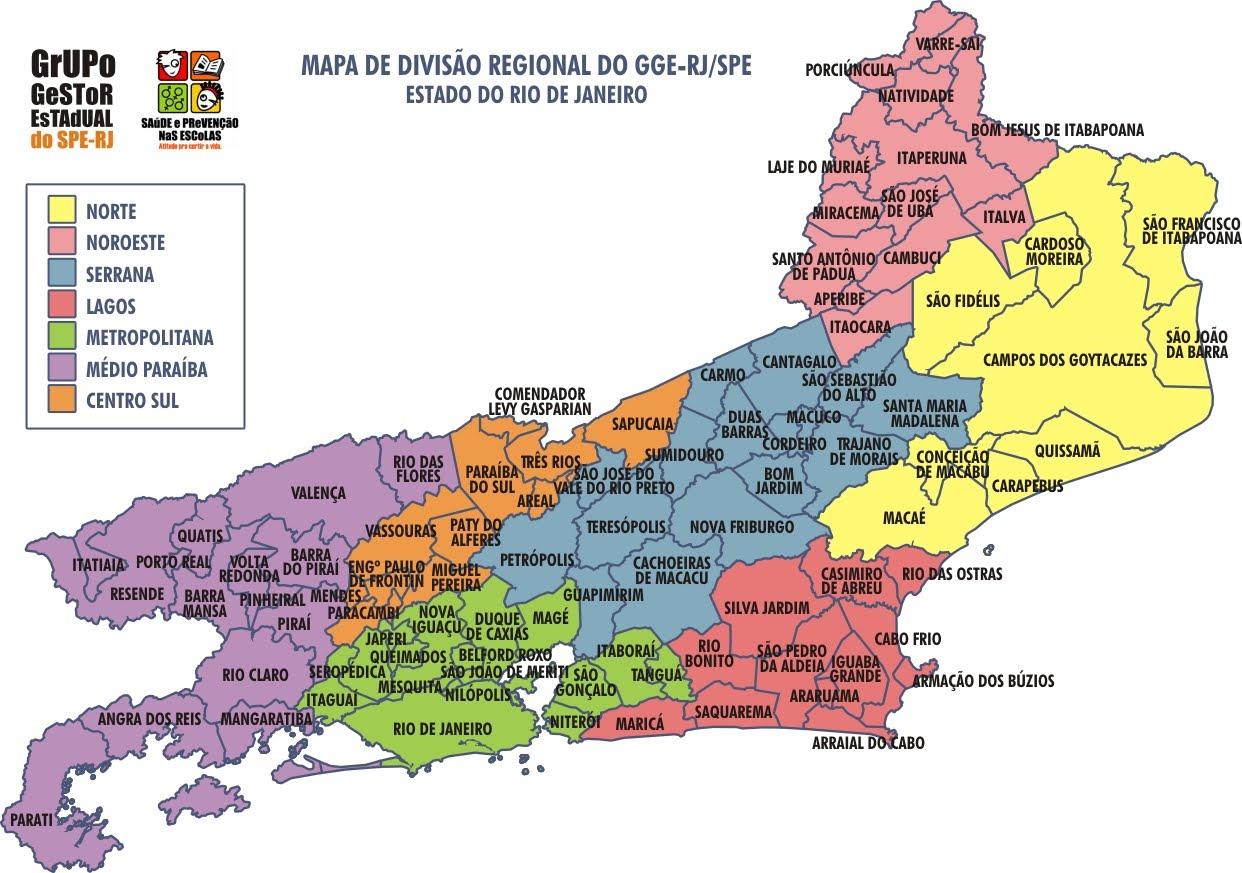 rio de janeiro mapa GGE RJ/SPE   Saúde e Prevenção nas Escolas: Divisão regional   GGE  rio de janeiro mapa