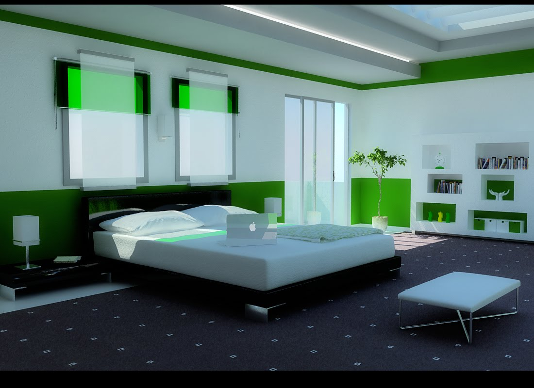 Green Color Bedrooms Interior Design Ideas