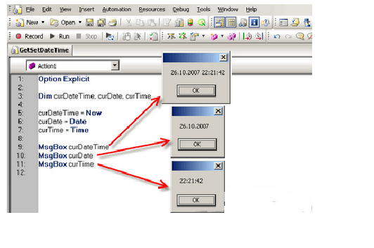 QTP Share knowledge: QTP - How to set/get system time and date?