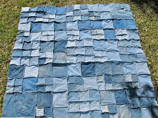 repurposed recycled denim flannel quilt