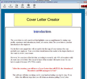 Freeware Applications Cover Letter Creator 10