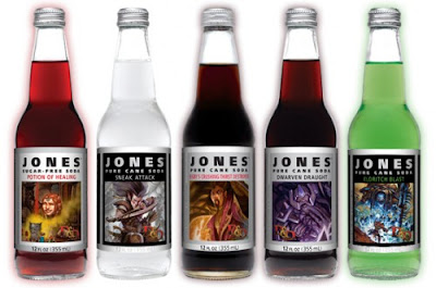 Limited Edition Spellcasting Dungeons and Dragons Soda, Jones Soda, Potion of Healing, Sneak Attack, Bigby's Crushing Thirst Destroyer, Dwarven Draught, Eldritch Blast and Illithid Brain Juice, Flavors