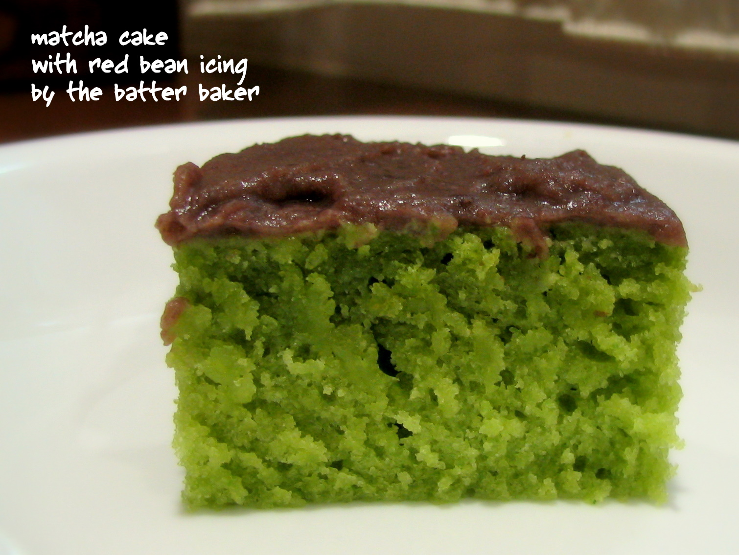 the batter baker matcha cake with red bean icing. Black Bedroom Furniture Sets. Home Design Ideas