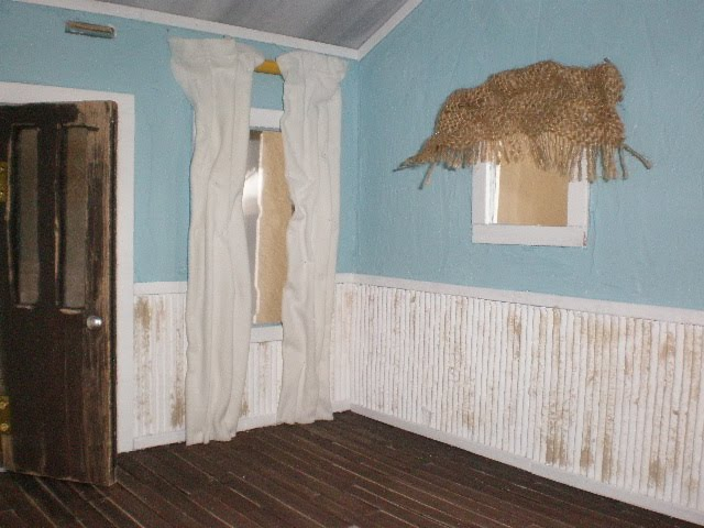 Im Getting Close To Finishing This Shabby Chic Beach House I Put The Curtains Up White Are On A Yellow Curtain Rod