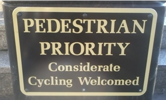Pedestrian Priority sign, Lambeth Southbank on lambethcyclists.org.uk