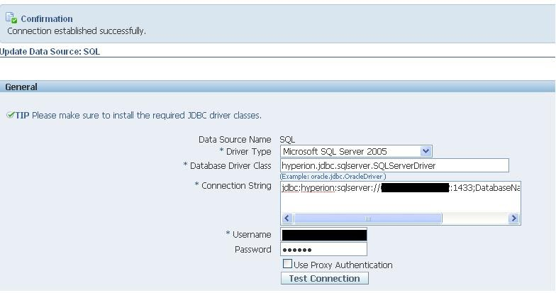 Hyperion driver to connect to MS Sql server  | Never name it