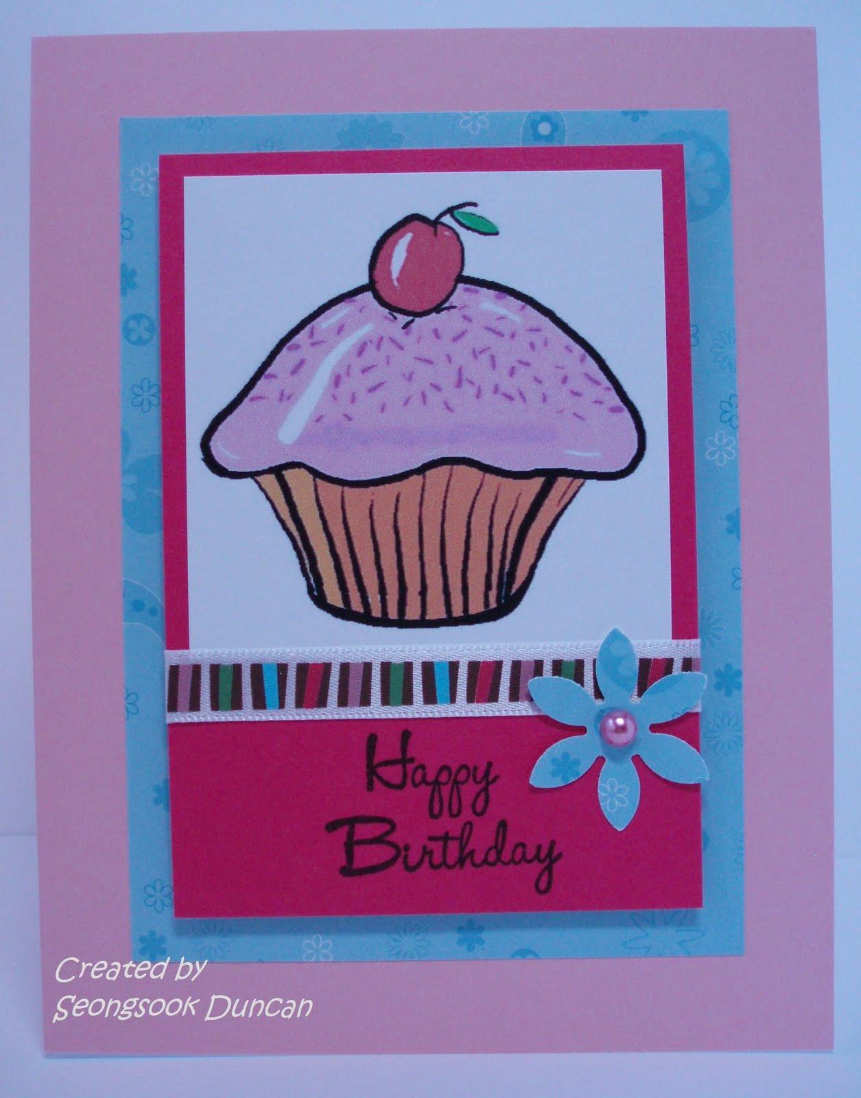 create with seongsook cupcake birthday card for card