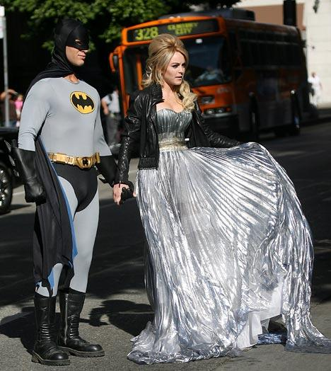 Holy delinquent, Batman! Superheroes swoop in on Lindsay Lohan's latest photo shoot