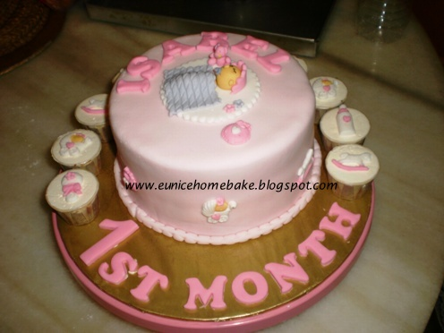 Isabel 1st Month 6 Orange Er Cake Small Chocolate Cupcake With Baby Design For My Colleague S Full Moon