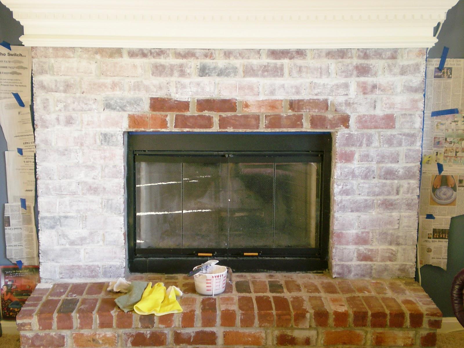 Shabby Chic Brick Fireplace