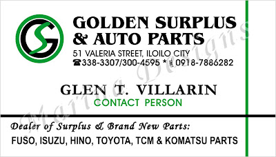 Sample Of Business Card Or Calling Surplus Auto Parts