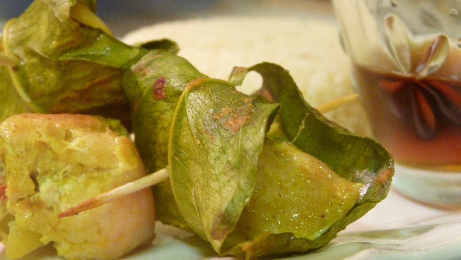 Gourmandise et cuisine brochettes de poulet en feuilles de citronnier - Feuille de cuisine ...