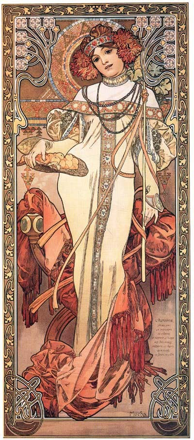 broadcastonwax: Autumn by Mucha (1900)