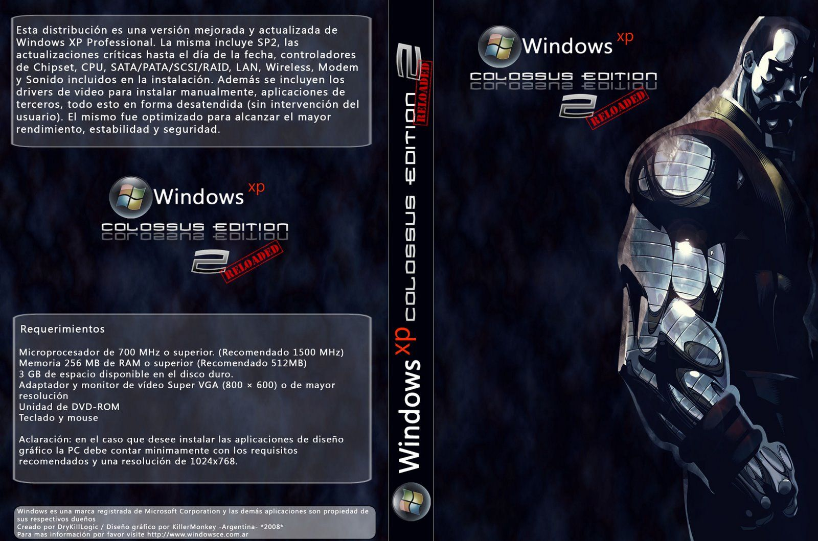 WindowsXpColossusEdition2Reloaded - Windows XP Colossus Edition v2.0 Reloaded [Español] [Booteable] [ULD]