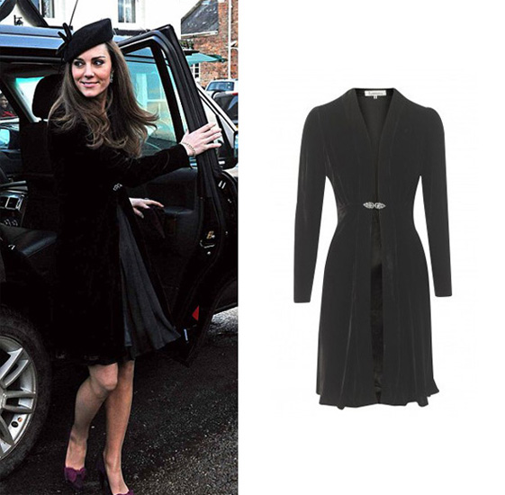 99061c3508c8 Kate and Wills atended a wedding of friends this weekend and she wore a black  velvet Libelula coat and black dress with sheer neckline.