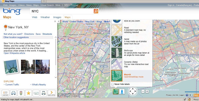 Bing Maps Watch: Bing Maps Explore With Open Street Map
