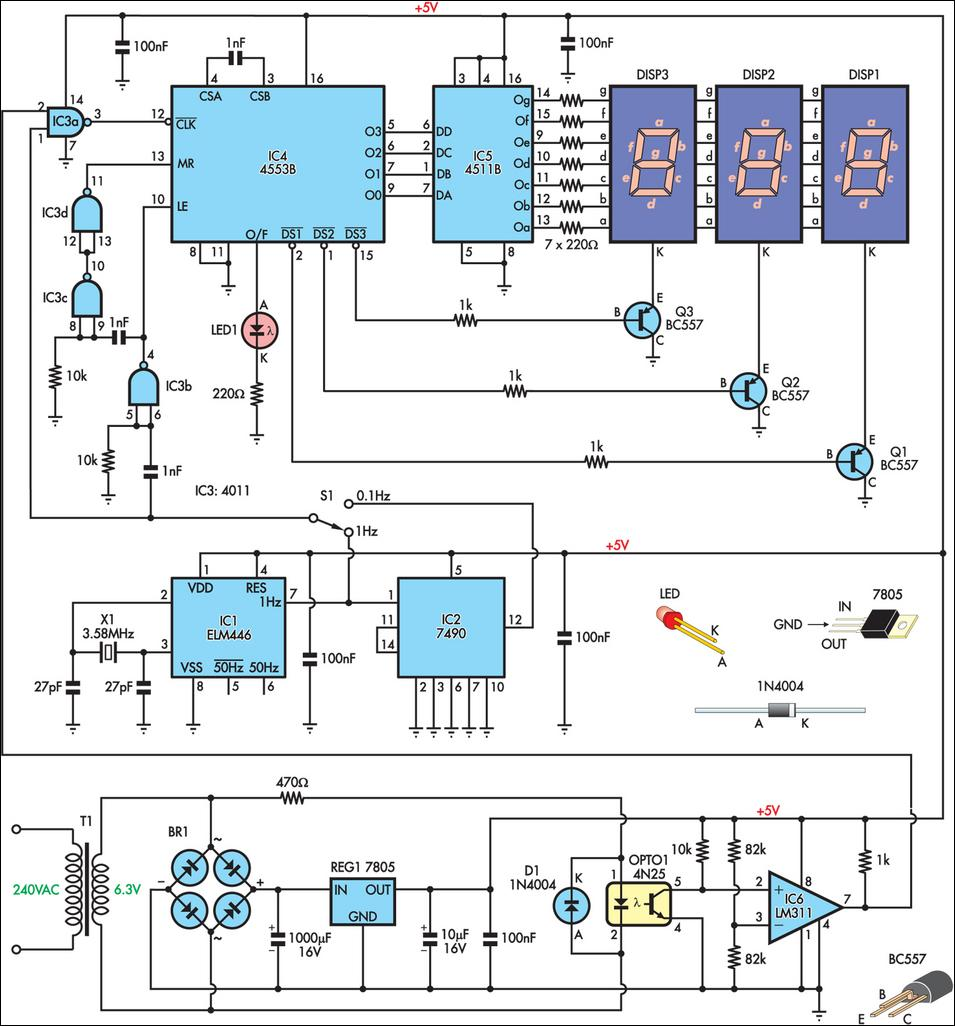 Mains Frequency Monitor circuit and explanation   Electronic Circuits, Schematics Diagram, Free