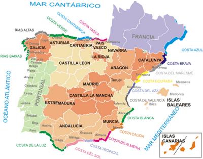 Mapa De Costas España.Mapa Costas Mapa