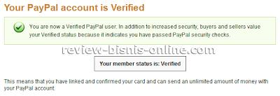 Verifikasi Account PayPal telah selesai