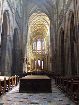 inside the St. Vitus Cathedral, Prague