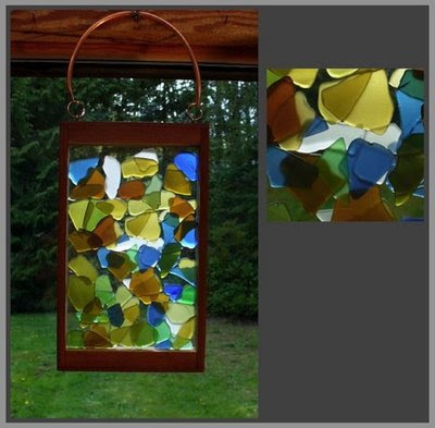 suncatcher, beach glass, stained glass, copper, cedar, kaleidoscope mosaic