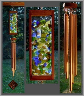 wind chime beach glass inspired with copper chimes