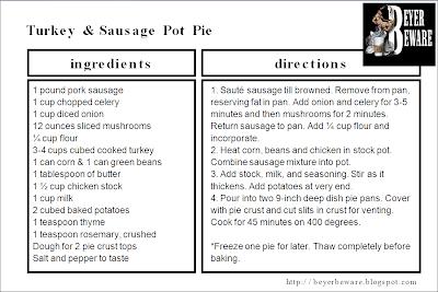 Turkey Sausage pot pie recipe