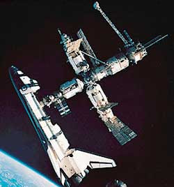 us shuttle joins russian space station -#main