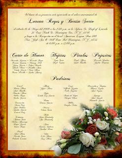 Invitación de Boda estilo antiguo con Rosas Blancas, Rojas y Rosadas