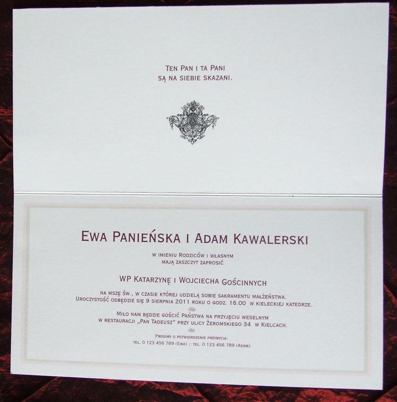 Zaproszenia Wydawnictwa Cedro I Synowie Zaproszenia Ze Znaczkiem