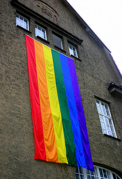 On some building Gay Pride flag