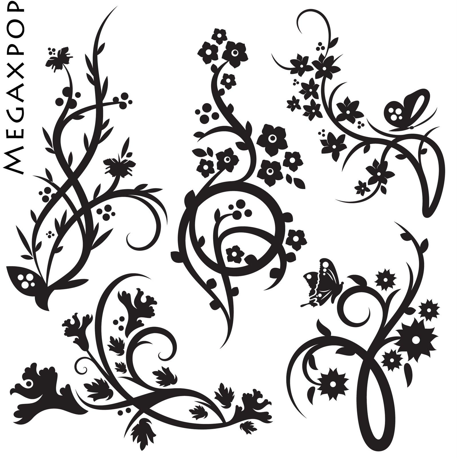 Sort og hvid blomster - StickerApp