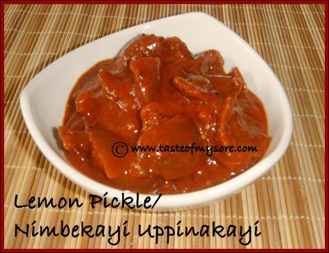 Taste Of Mysore Lemon Pickle Nimbekayi Uppinakayi