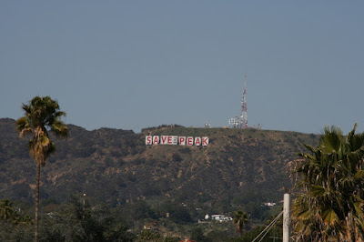 Hollywood Sign Save the Peak protest