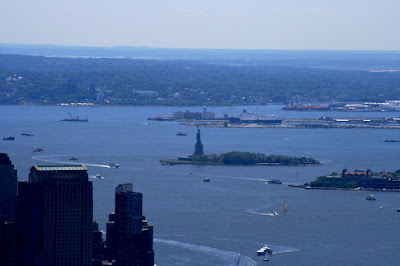 The Statue of Liberty viewed from The Empire State Building observation deck