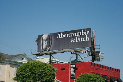 Hot new black and white Abercrombie & Fitch male model billboard on Sunset Blvd - August 2008